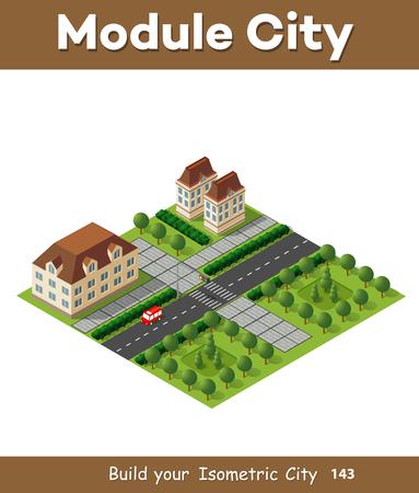 Isometrico retrò modulo urbano 3D della città per la costruzione e la modellazione di progettazione di megapolis per il web design creativo e presentazioni Archivio Fotografico - 76305898
