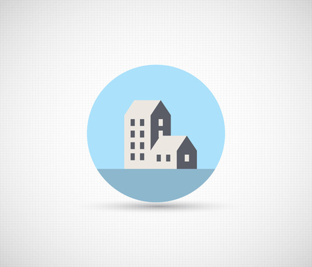 home icon: Creative web city icon in a flat style