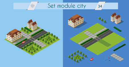 Isometric retro set 3D urban module of the city for construction and modeling of designing megapolis for creative web design and presentations