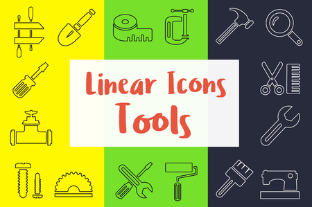 Set of linear icons in the flat style manufactured type with industrial tools and objects Ilustração