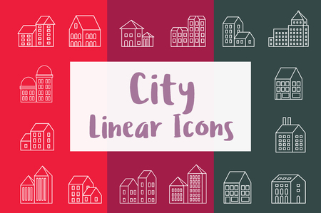 Set city urban icons in flat style with houses, skyscrapers and buildings