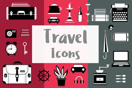 スーツケース、コーヒー グラインダー、ローソク足、ノート パソコンのフラット スタイルのフラット旅行アイコンのセット