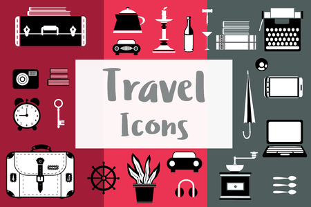 Set of flat travel icons in a flat style with a suitcase, coffee grinder, candlestick, laptop