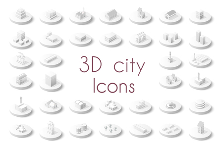 home icon: Set of isometric city icons. Three-dimensional signs and symbols on urban theme with buildings, houses and structure for real estate agencies and sites
