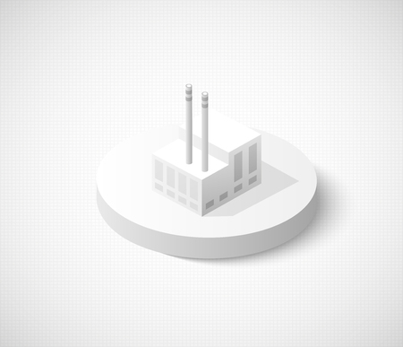 hangar: Factory hangar of isometric city icon. Dimensional sign and symbol on industrial theme with building for real estate agencies and sites Illustration