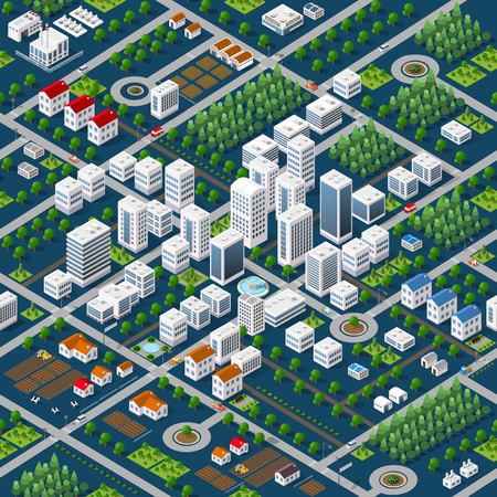 Isometric 3D megapolis city structure seamless pattern with streets, houses, trees and transport Vettoriali