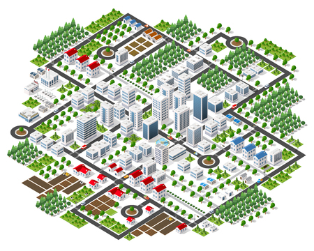 Isometric 3D city megapolis structure urban landscape top view with streets, houses, trees and transport