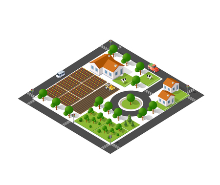Isometric suburban ecological landscaping farm top view with streets, houses, fields, gardens Vettoriali