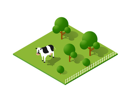 Rural countryside ecological landscape farm with cow Illustration