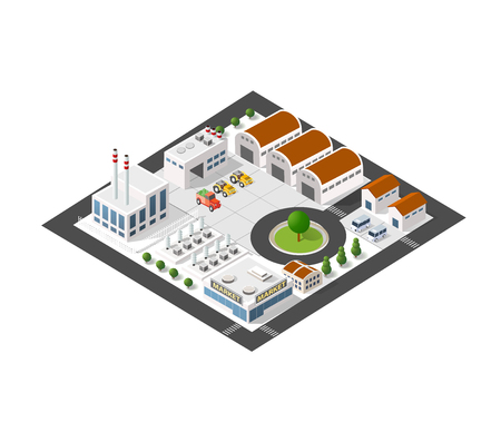 Isometric industrial landscape of the plant top view with streets, houses, warehouses, hangars Vettoriali