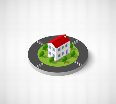 cantieri edili: 3D isometric city icon. Dimensional sign and symbol on urban theme with building, houses and structure for real estate agencies and sites