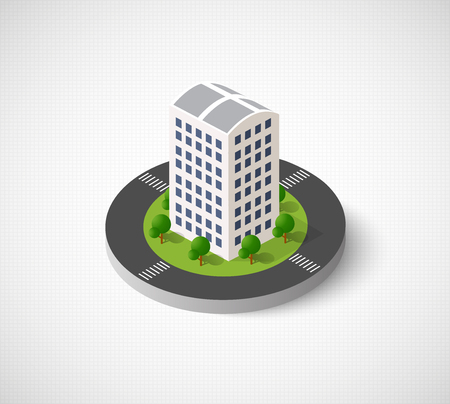 3D isometric city icon. Dimensional sign and symbol on urban theme with building, houses and structure for real estate agencies and sites