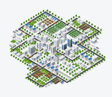 Isometric 3D metropolis city quarter with streets, skyscrapers, trees and houses. Urban landscape top view Illustration