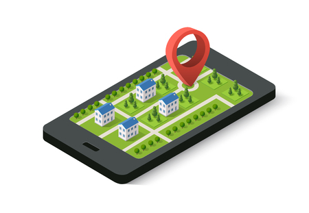 find: Isometric 3D navigation sign and pin symbol on mobile phone city urban map indicating the location and direction