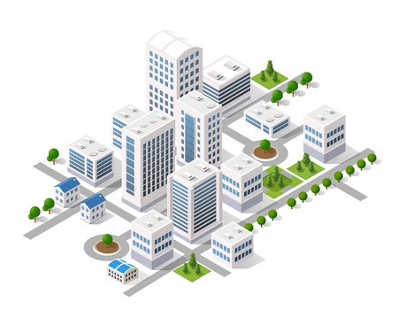 Isometric 3D metropolis city quarter with streets, skyscrapers, trees and houses. Urban landscape top view Vettoriali
