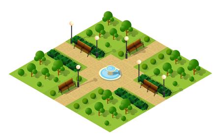 通り、木で等尺性大都市都市公園。都市景観トップ ビュー