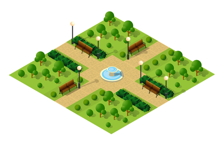 Isometric metropolis city park with streets and trees. Urban landscape top view Illustration