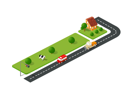 Urban street road isometric urban landscape and cow