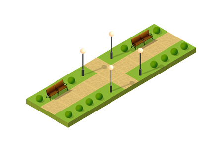 Isometric metropolis city park with streets and trees. Urban landscape top view Vettoriali