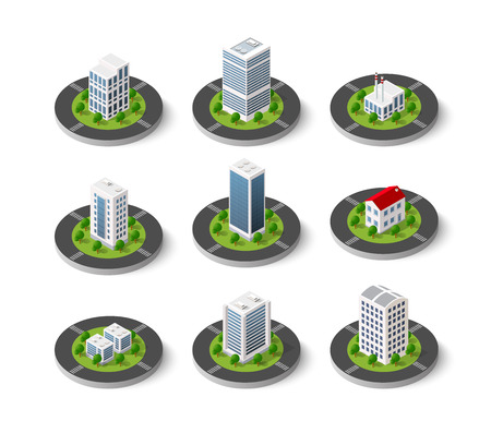 Icon set of the city with isometric houses, skyscrapers, streets and trees. Urban signs and symbols