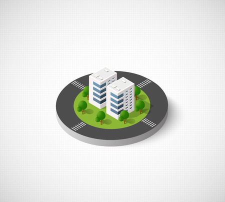 Icon of the city with isometric houses, skyscrapers, streets and trees. Urban signs and symbols