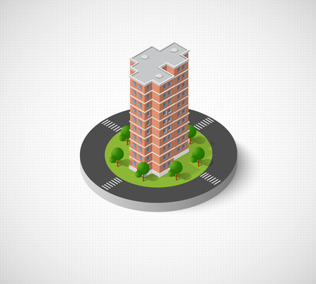 modern office: Icon of the city with isometric in cartoon illustration
