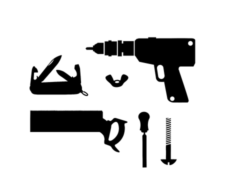 Silhouette illustration of building tool Illustration