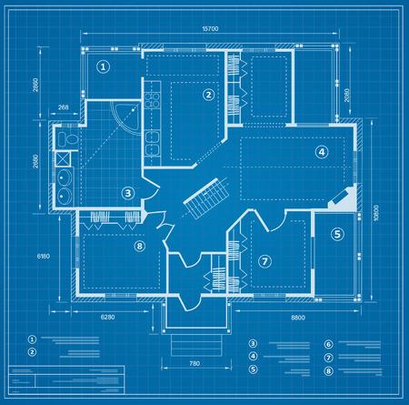 Blueprint house plan Illusztráció