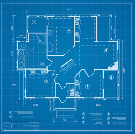 Blueprint house plan Vettoriali