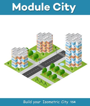 modern office: Landscape of the city in cartoon illustration