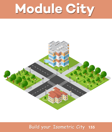 city building: Landscape of the city in cartoon illustration