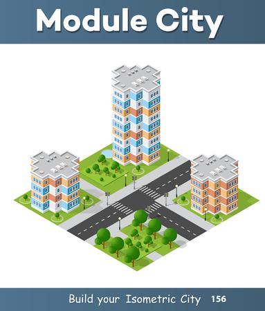 modern office: City block quarter district isometric 3D landscape of the town Illustration