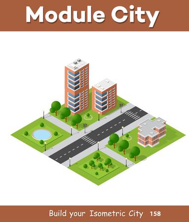 City quarter top view landscape isometric 3D projection