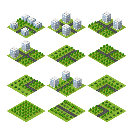 city building: City set quarter top view landscape isometric 3D projection with skyscrapers, houses and trees with park Illustration