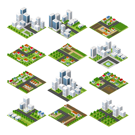modern office: City set quarter top view landscape isometric 3D projection with skyscrapers, houses and trees with park Illustration