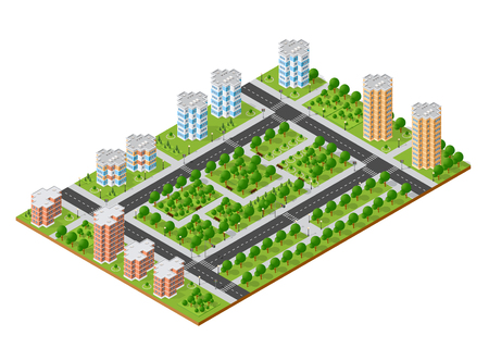 City quarter top view in cartoon illustration.