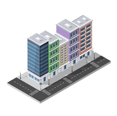 modern office: District of the city street houses Isometric 3D infrastructure, urban buildings and construction Illustration