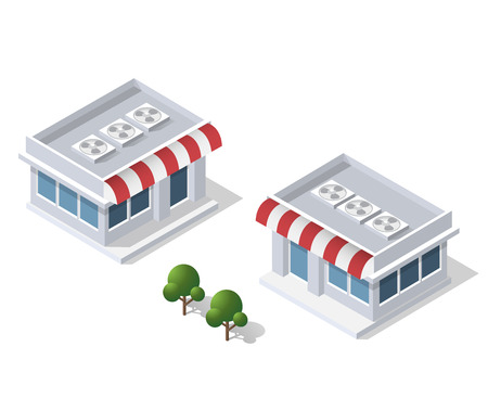 city building: Isometric 3D shop market city infrastructure, urban buildings and construction Illustration