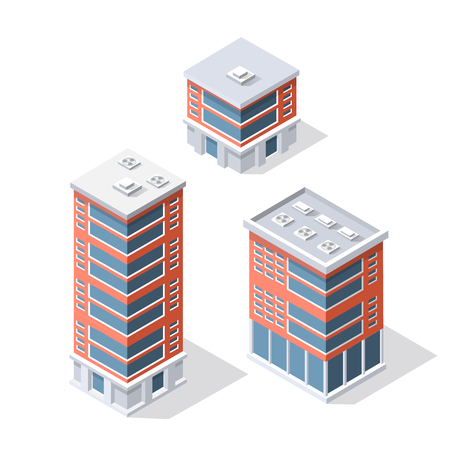 modern office: Collection set objects Isometric 3D city infrastructure, urban buildings and construction