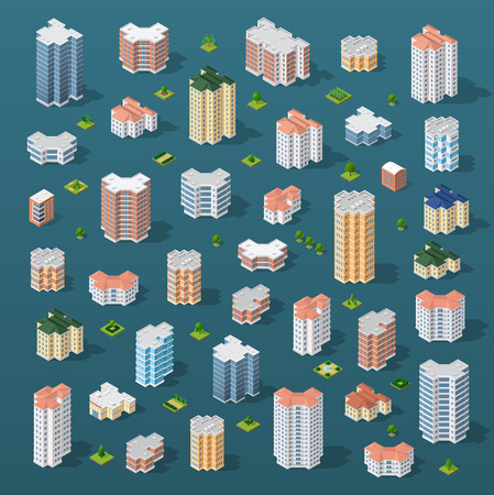 city building: Collection set objects Isometric 3D city infrastructure, urban buildings and construction