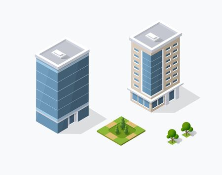Collection set objects Isometric 3D city infrastructure, urban buildings and construction