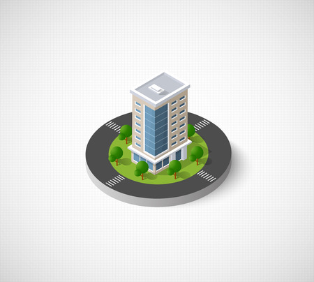 Web icon Isometric 3D city infrastructure, urban buildings and construction Vettoriali