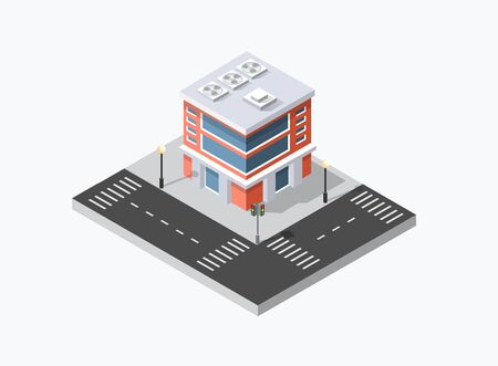 Isometric 3D shop market city infrastructure, urban buildings and construction Vettoriali