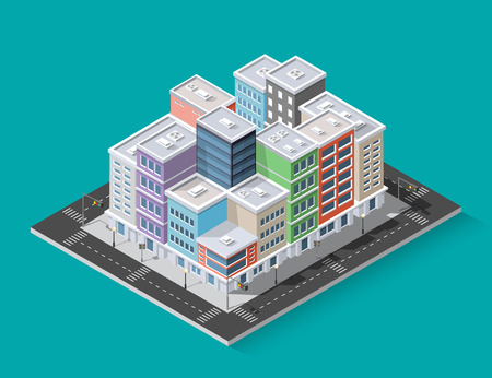 District of the city street  in colorful illustration.