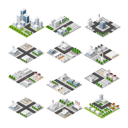 A set of isometric city Vettoriali
