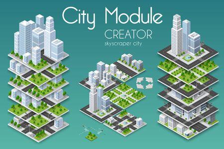 Creatore del modulo di città in illustrazione colorata. Vettoriali