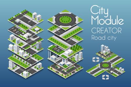 Creatore del modulo di città in illustrazione colorata.