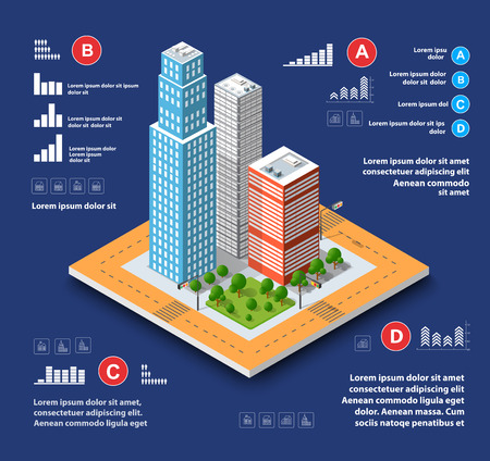 construction: City isometric concept of urban infrastructure business. Vector building illustration of skyscraper and collection of urban elements architecture, home, construction, block and park