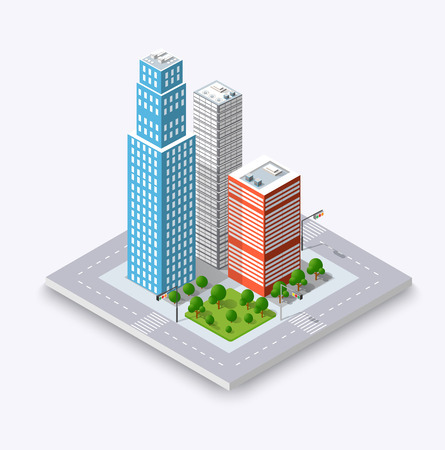 City isometric concept of urban infrastructure business. Vector building illustration of skyscraper and collection of urban elements architecture, home, construction, block and park