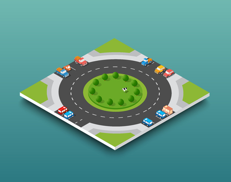City isometric freeway